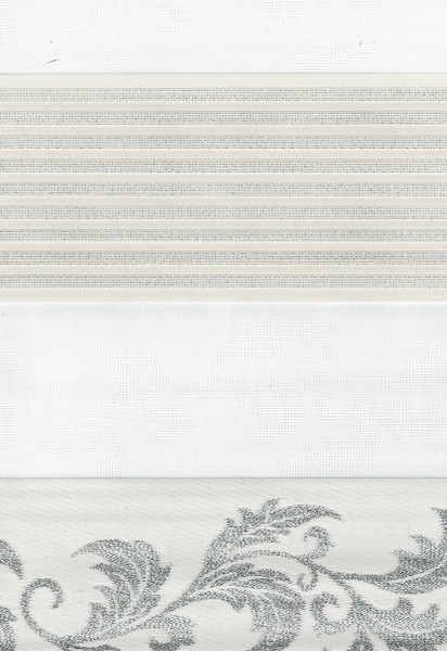 Art. 1627-01 Maßanfertigung Duorollo JAKAR GARDEN Boncuklu Zebra Perde Doppelrollo Creme