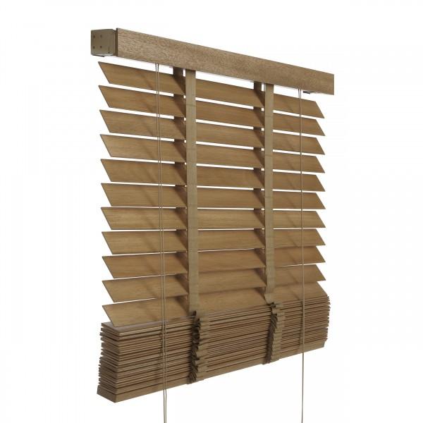 holzjalousie 50mm echtholz lamellen jalousette holz rollo k rzbar braun nach standard. Black Bedroom Furniture Sets. Home Design Ideas