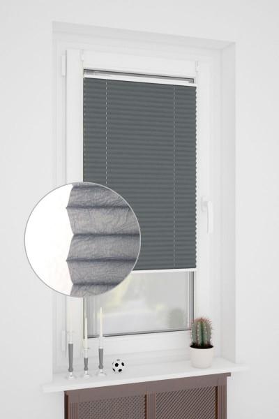klemmfix plissee ohne bohren oder mit spannschuh crush optik anthrazit nach standard plissee. Black Bedroom Furniture Sets. Home Design Ideas