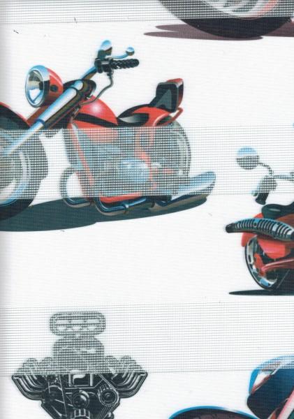 Art. motor01 Maßanfertigung Kinder Duorollo Motorrad Boncuklu Zebra Perde Doppelrollo