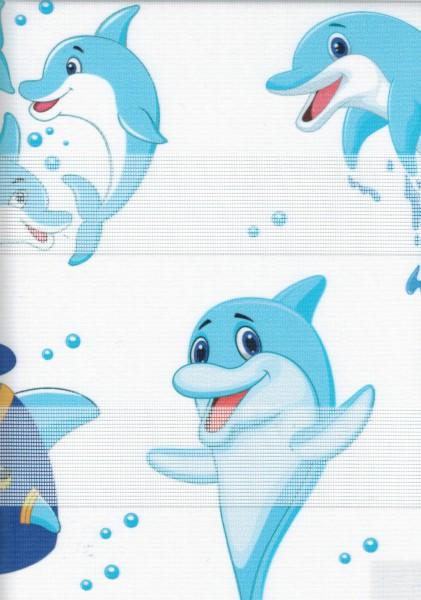 Art. cck-1005 Maßanfertigung Kinder Duorollo Delfine Boncuklu Zebra Perde Doppelrollo