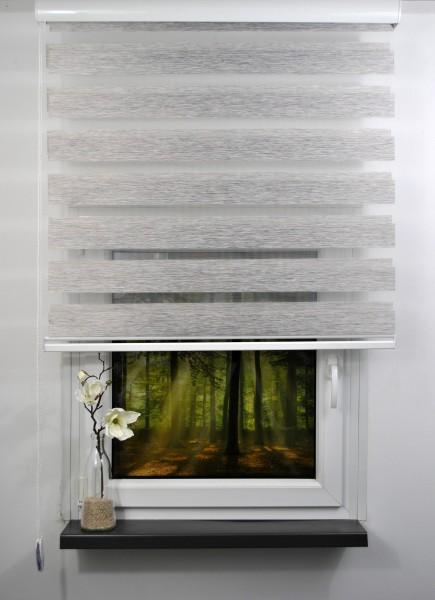 Doppelrollo Duorollo Länge bis 250cm aufrollbar Standard Farbe: Grau meliert