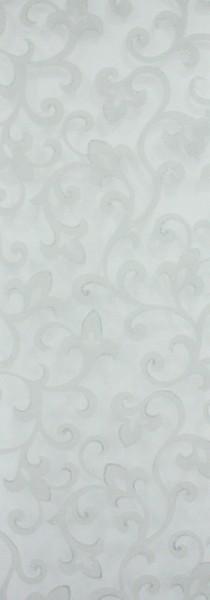 Art: PL15 Flächenvorhang 50x250cm Weiss mit Rankenmuster glitzer Transparent Kürzbar