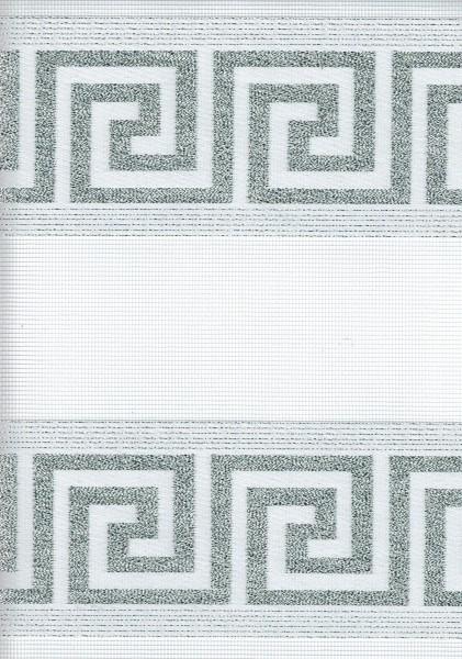 Art. 97000-01 Maßanfertigung Doppel Rollo Zebra Versace Weiß/Silber