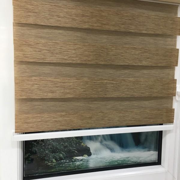 Doppelrollo Duorollo Länge bis 250cm aufrollbar Standard Farbe: Braun meliert