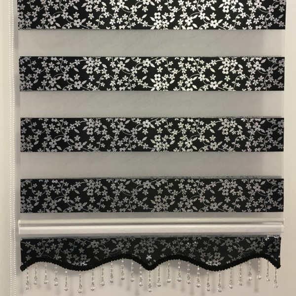 Doppelrollo Duorollo Standard Blumen schwarz/silber