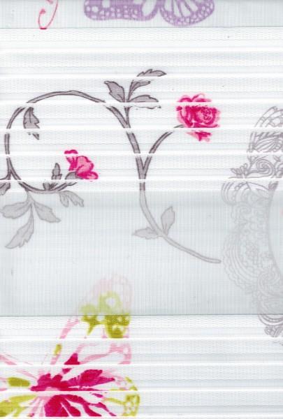 Art. 1137-03 Maßanfertigung Duorollo Blumen Boncuklu Zebra Perde Doppelrollo Weiß