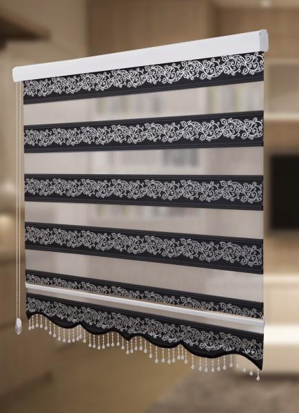 Doppelrollo Silber Rankenmuster schwarz 1533-03