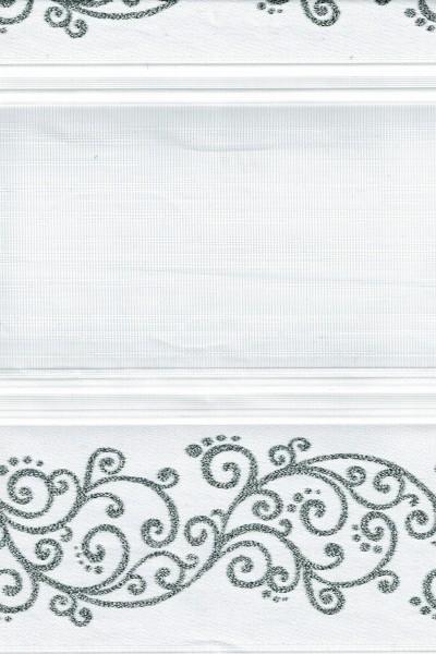 Art. 1533-01 Maßanfertigung Duorollo Ranken Muster Boncuklu Zebra Perde Doppelrollo Weiß