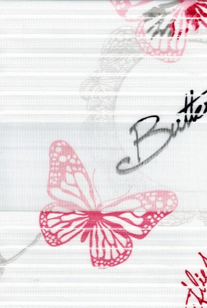 Art. 1137-01 Maßanfertigung Duorollo Schmetterling Boncuklu Zebra Perde Doppelrollo Weiß