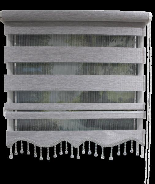 Doppelrollo Klemmfix ohne Bohren Easyfix Zebrarollo Duorollo Bambu mit Perlen Farbe: Grau