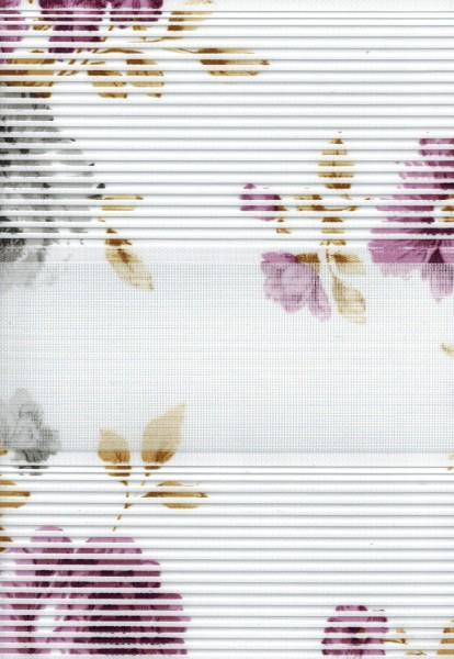 Art. 1202-02 Maßanfertigung Duorollo Blumen Boncuklu Zebra Perde Doppelrollo Weiß