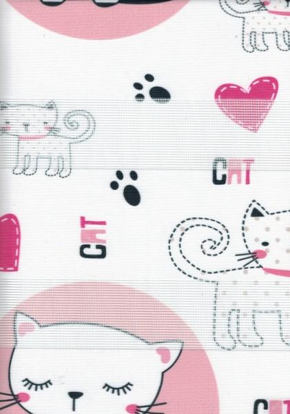 Art. cats03 Maßanfertigung Kinder Duorollo Katze Boncuklu Zebra Perde Doppelrollo