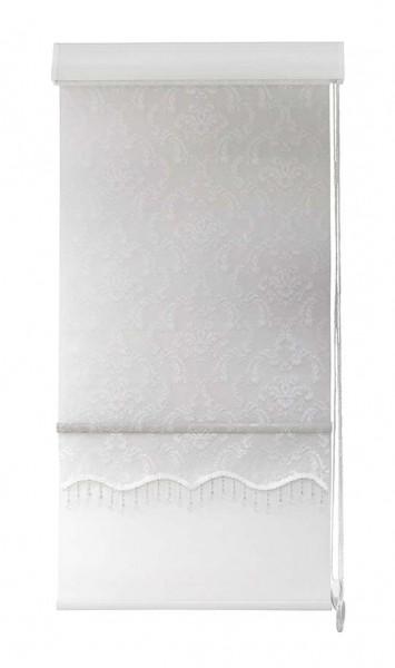 Maßanfertigung Doppelstoff Rollo 38R14 Creme Weiß