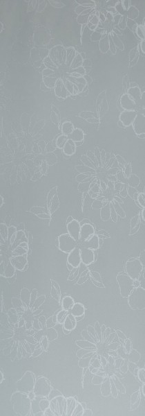 Art: PL01 Flächenvorhang 50x250cm Grau mit Blumenmuster Blickdicht Kürzbar