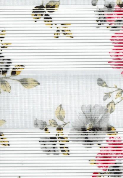 Art. 1202-01 Maßanfertigung Duorollo Blumen Boncuklu Zebra Perde Doppelrollo Weiß