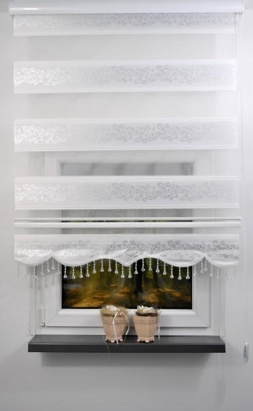 Doppelrollo Silber Rankenmuster weiß 1533-01