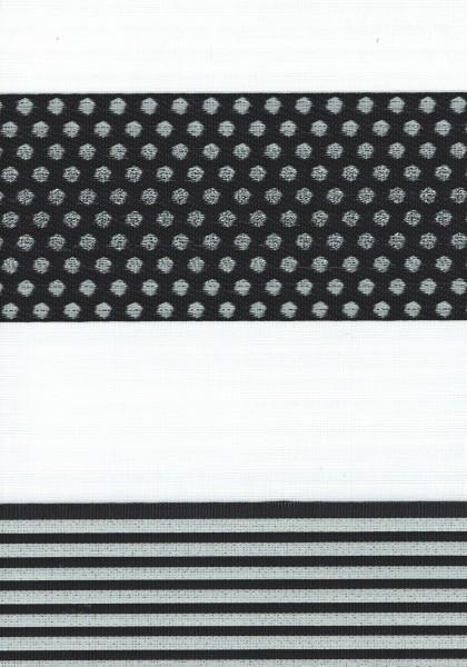 Art. 1540-08 Maßanfertigung Duorollo Pünktchen Boncuklu Zebra Perde Doppelrollo Schwarz