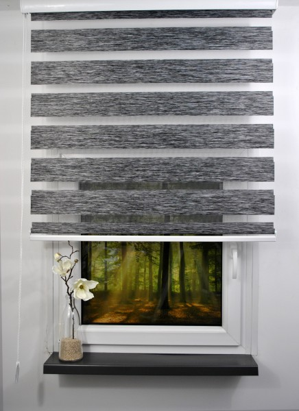 Doppelrollo Duorollo Länge bis 250cm aufrollbar Standard Farbe: Dunkelgrau meliert