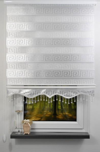 Doppelrollo Weiß Silber Glitzer Versage Motiv 9700-01