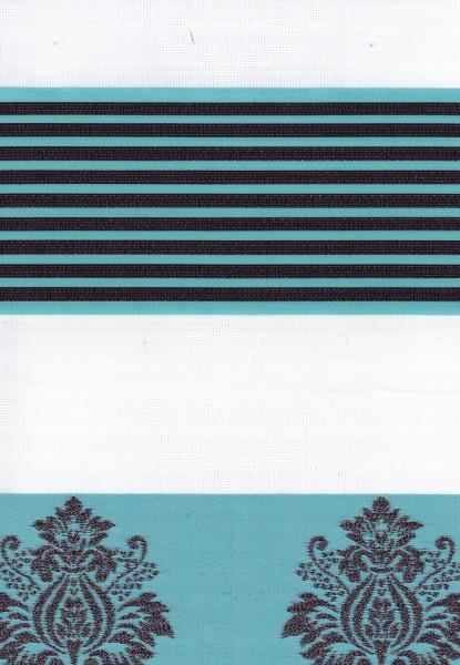 Art. 1624-21 Maßanfertigung Duorollo Barok Muster Boncuklu Zebra Perde Doppelrollo Türkis