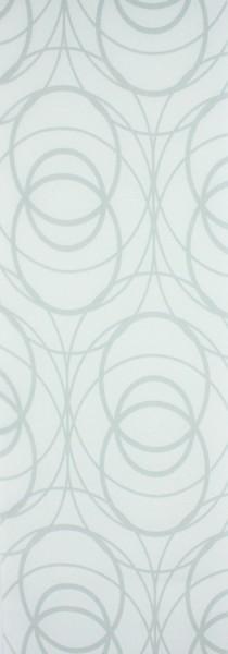 Art: PL08 Flächenvorhang 50x250cm Weiß mit Kreisen Blickdicht Kürzbar