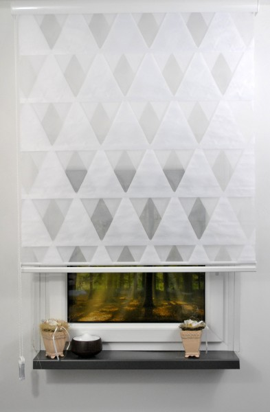 3D Dreieck Doppelrollo Duorollo Länge bis 250cm aufrollbar Standard Farbe: weiß