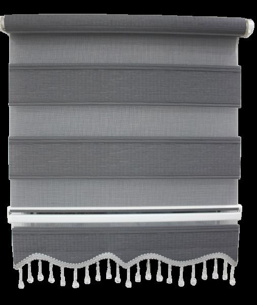 Doppelrollo Klemmfix ohne Bohren Easyfix Zebrarollo Duorollo mit Perlen Farbe: Grau