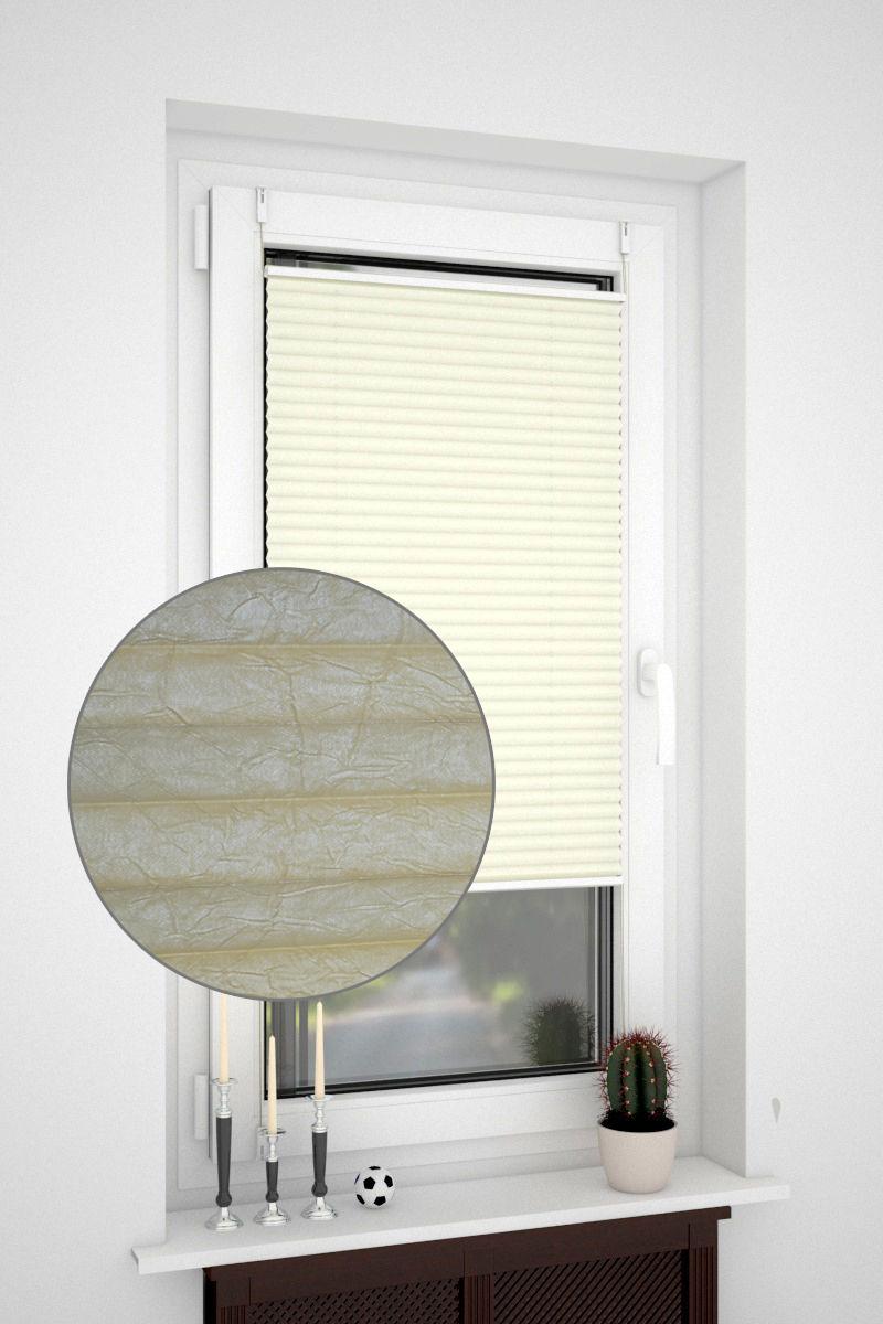 klemmfix plissee ohne bohren oder mit spannschuh crush optik creme nach standard plissees. Black Bedroom Furniture Sets. Home Design Ideas